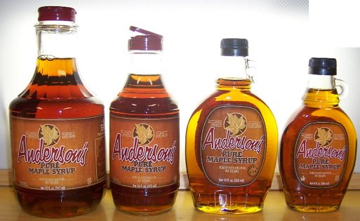 4 glass bottles of maple syrup in Israel- 32 ounce, 16 ounce, 12 ounce and 8 ounce sizes of grade A, Dark Amber Maple Syrup