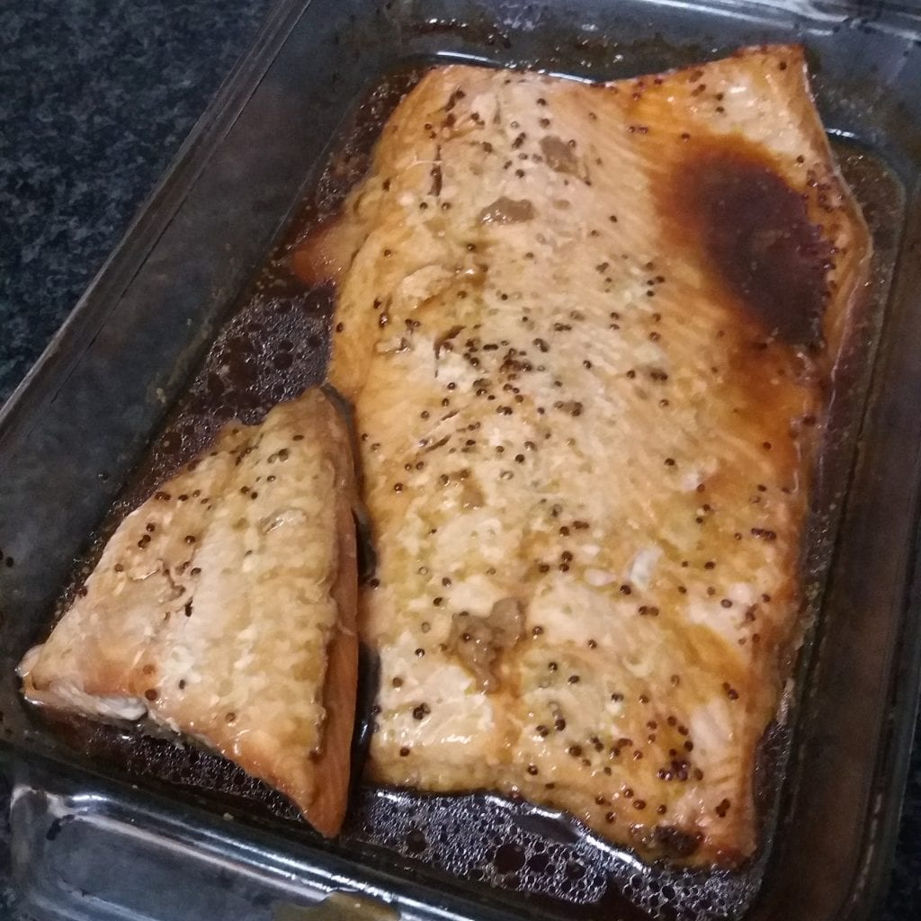 Salmon baked in a maple syrup sauce.